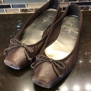 Jessica Simpson brown Leve Leather ballet flats